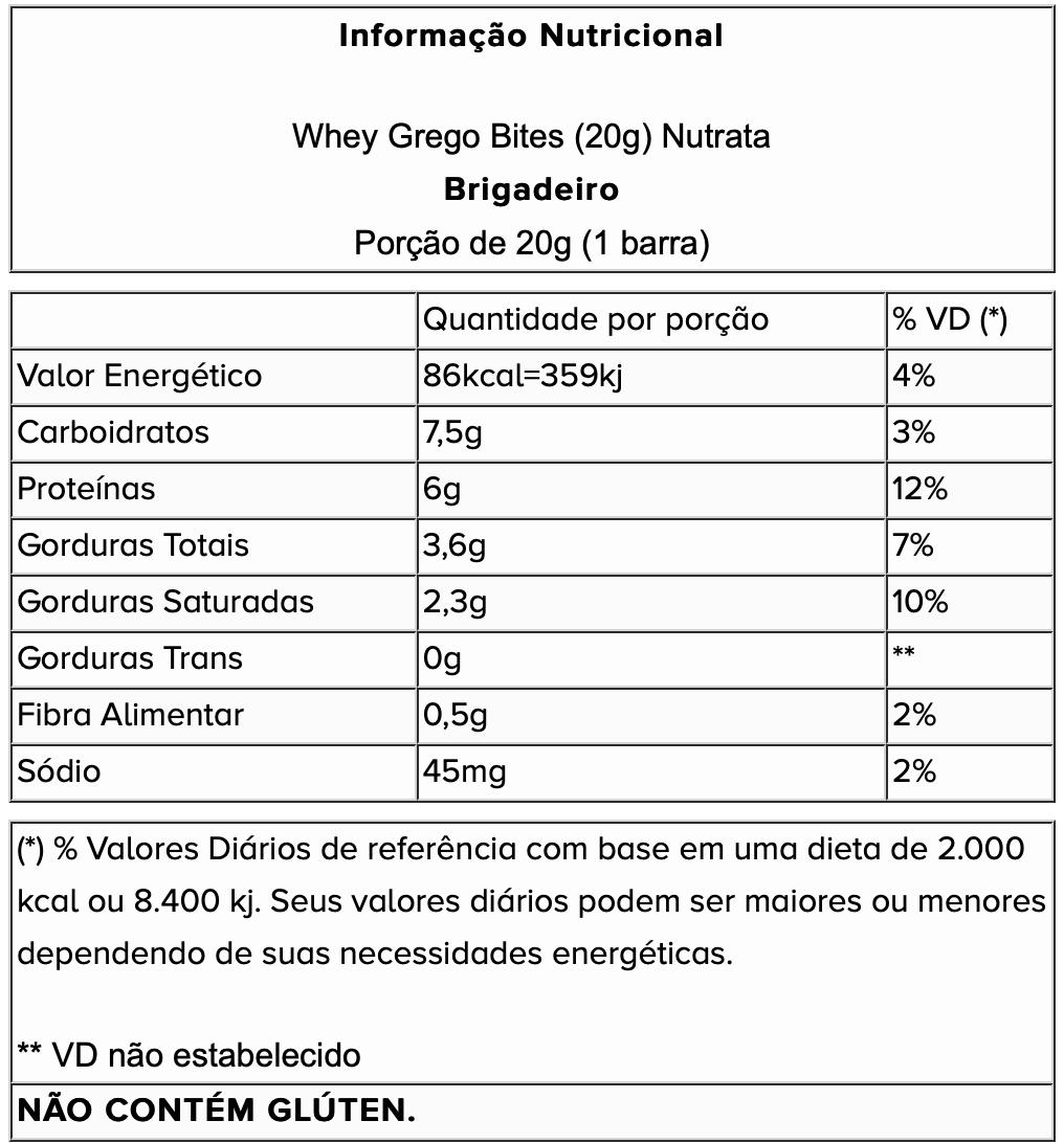 CAIXA WHEY GREGO BITES (15 UN) DE 20G - NUTRATA - BRIGADEIRO