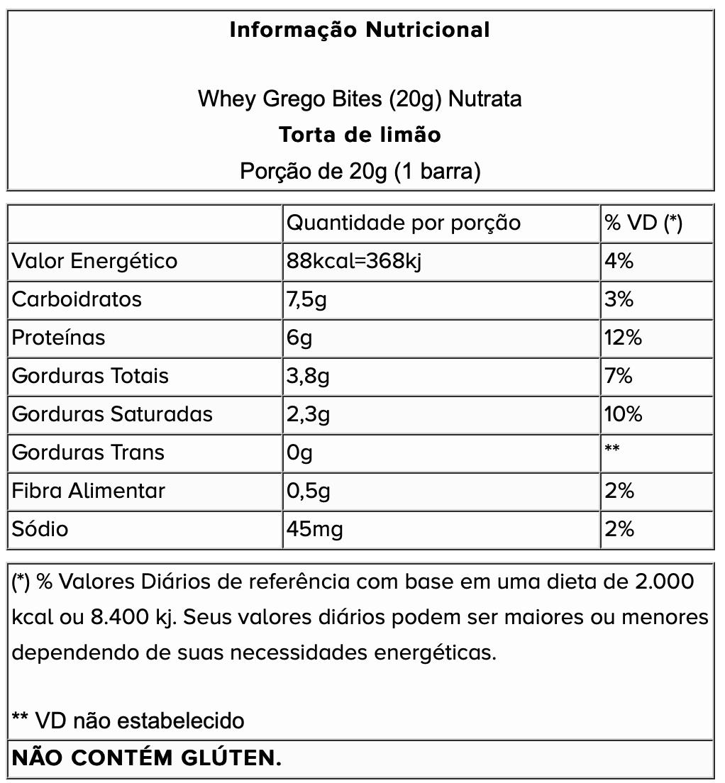 CAIXA WHEY GREGO BITES (15 UN) DE 20G - NUTRATA - LIMAO
